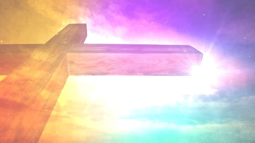 The cross with radiating background